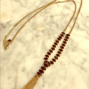 Gold & Black Detail Long Necklace with Tassel